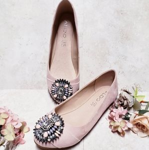 Aldo Blush Jeweled Ballet Flats
